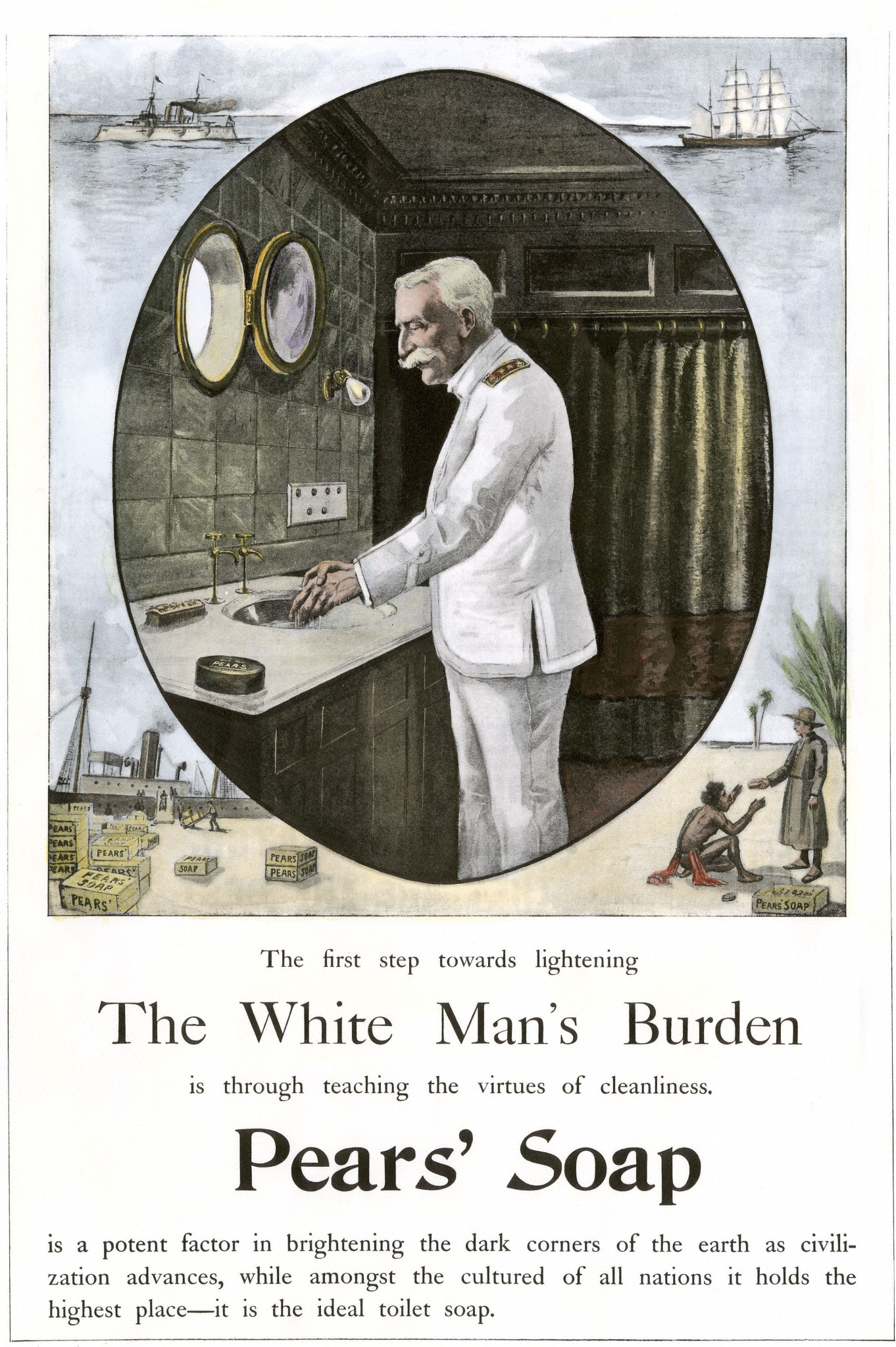 White Man Burden is to teach cleanliness described in a Pears Soap advertisement 1890s